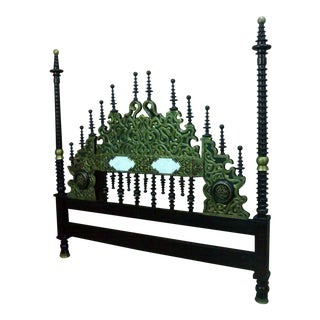 Moorish-Style Elaborately Hand Carved Headboard For Sale