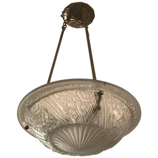 Schneider French Art Deco Pendant Chandelier For Sale