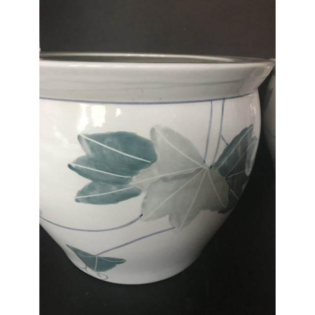 Chinoiserie Pair of Chinese Blue & White Ceramic Leaf Planters For Sale - Image 3 of 13