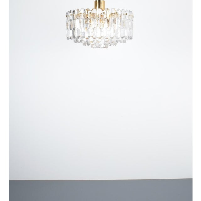 1960s j.t. Kalmar Palazzo Chandelier Gold Brass Glass Lamp, Austria 1960 For Sale - Image 5 of 12