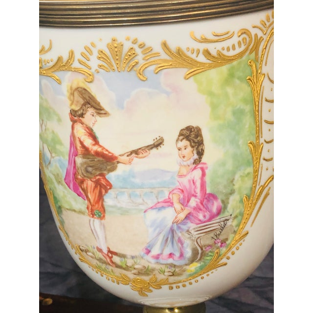 Late 20th Century Late 20th Century Vintage Hand Painted Urns - a Pair For Sale - Image 5 of 8