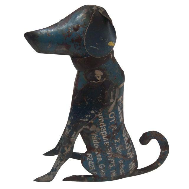 Reclaimed Steel Dog Sculpture - Image 1 of 5