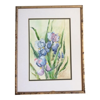 1970s Blue Iris Watercolor Painting