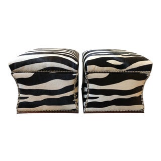 Ralph Lauren Home Florence Storage Ottomans Hair-On-Hide - a Pair For Sale