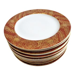 Vintage Imari Vermilion Red & Gold Serving Plates - Set of 10