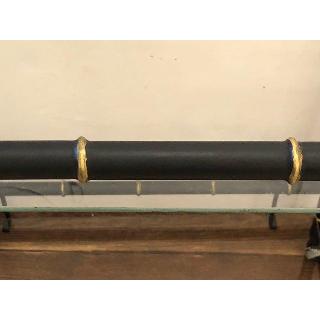 Hollywood Regency Faux Bamboo Black & Gold Vintage Bar Cart For Sale - Image 10 of 11