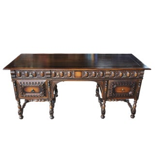 1910s Jacobean Kittinger Revival Walnut Partners Library Desk For Sale