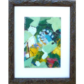 """""""Summer Leafs"""" Contemporary Abstract Botanical Oil Painting by Martha Holden, Framed For Sale"""