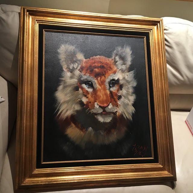Gold Framed Tiger Cub Oil Painting - Image 2 of 8