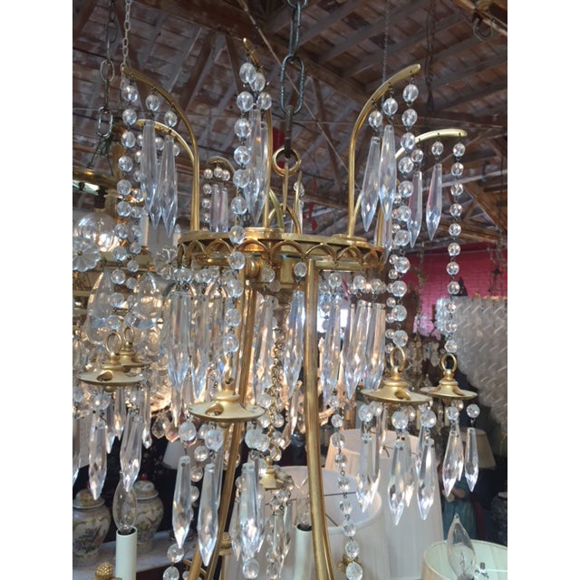 1950s Vintage Neo-Classic Brass Dore Chandalier For Sale - Image 4 of 13