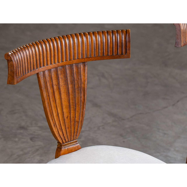 Antique 1890s Italian Empire Walnut Neoclassical Chairs - a Pair For Sale - Image 4 of 13