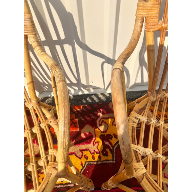 Mid 20th Century Albini Style Bamboo Rattan Bistro Chairs- a Pair For Sale - Image 5 of 13