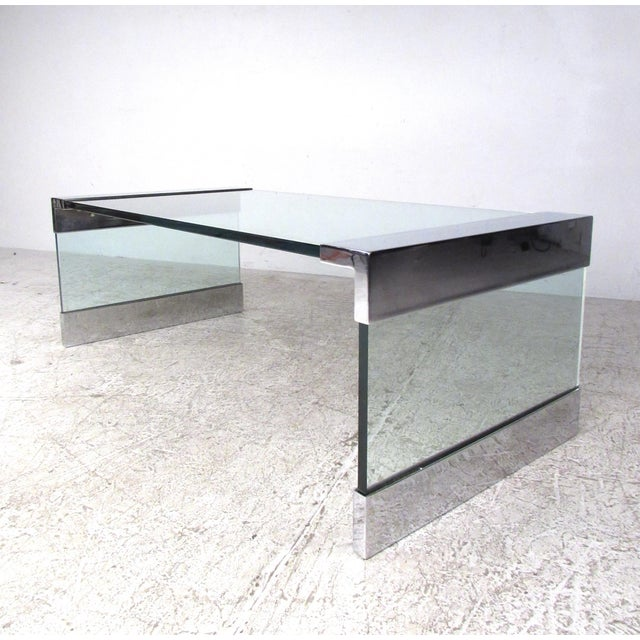 Mid-Century Modern Mid-Century Modern Chrome and Glass Coffee Table After Pace For Sale - Image 3 of 8
