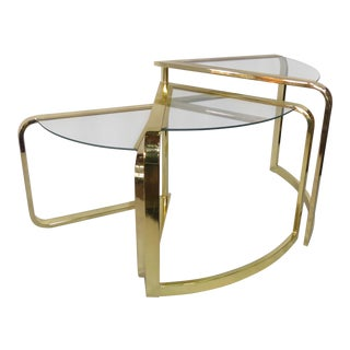 Milo Baughman Three-Tier Brass & Glass Corner Nesting Table