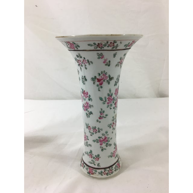 These lovely vases with sweet little flowers are unmarked Samson porcelain. In excellent condition with some wear to the...
