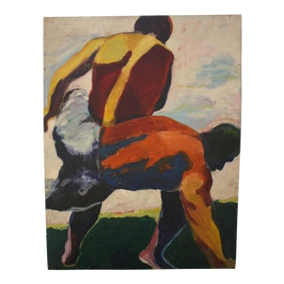 """Wrestlers"" Abstract Painting"