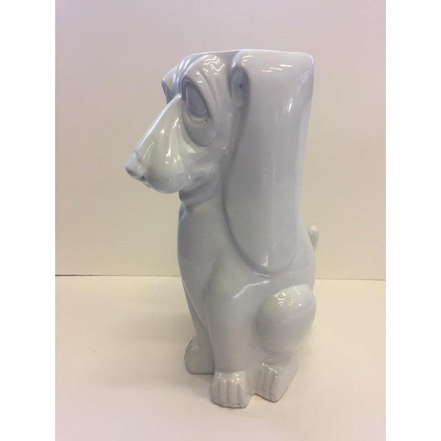 Italian Hound Dog White Ceramic Umbrella Stand For Sale - Image 11 of 12
