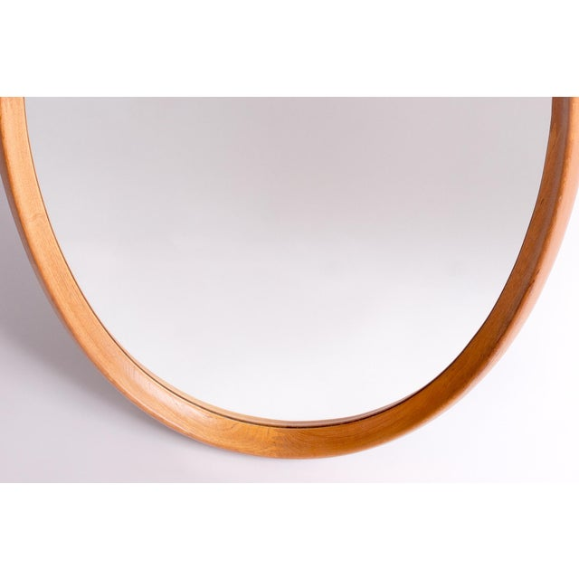 Pedersen & Hansen Very Large Oval Danish Modern Mirror in Two-Tone Teak by Pedersen & Hansen, 1960's For Sale - Image 4 of 6