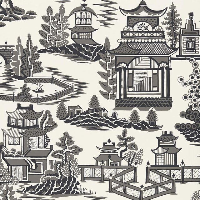 Contemporary Sample - Schumacher Nanjing Chinoiserie Wallpaper in Smoke Grey For Sale - Image 3 of 4