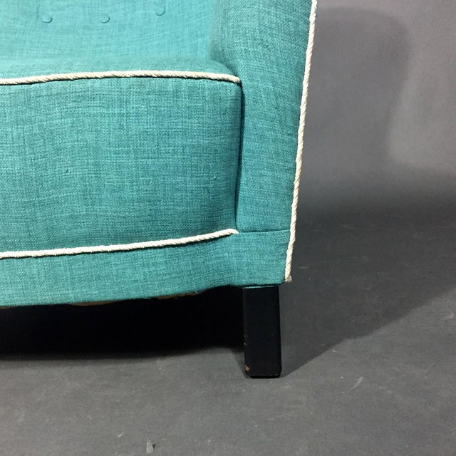 Textile Late 1930s Danish Buttoned Armchair With Turquoise Upholstery For Sale - Image 7 of 10