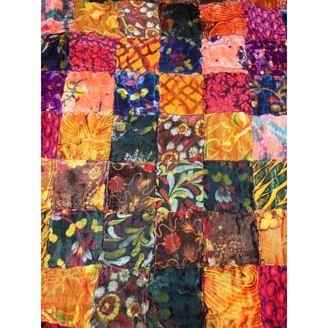 Vintage Boho Quilted Velvet Bedspread - Image 9 of 10