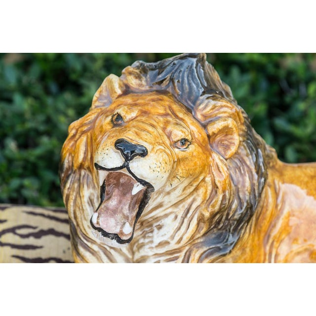 Italian Terra-Cotta Glazed Roaring & Crouching Lion, Made in Italy For Sale - Image 4 of 9