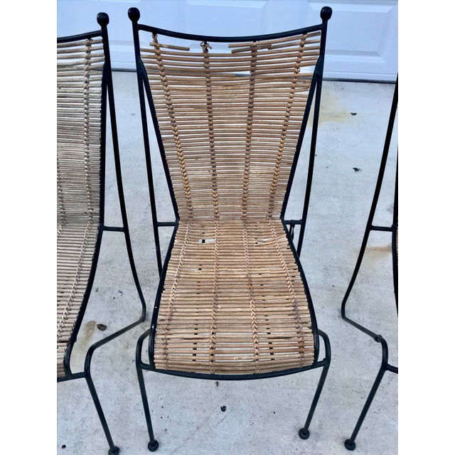 Ficks Reed Set of 6 Mid-Century Ficks Reed Bamboo and Metal Chairs For Sale - Image 4 of 13