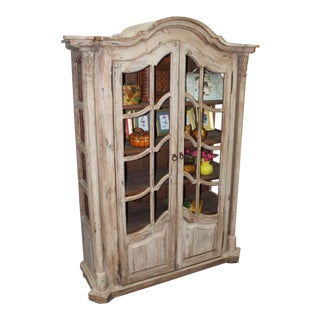 Country French English Style Distressed Solid Wood Display Cabinet