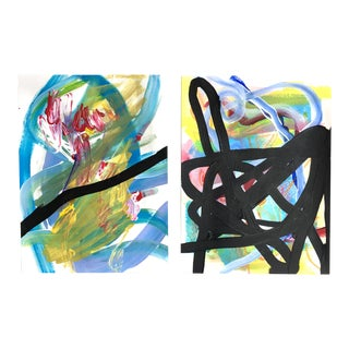 Spider Legs Paintings by Jessalin Beutler - a Pair For Sale