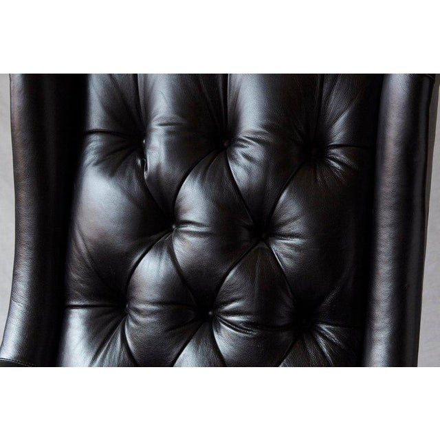 Tufted Black Leather Swivel -Tilt Executive Chair by Hancock & Moore For Sale - Image 11 of 12