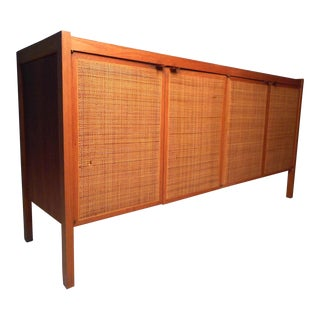 Midcentury Cane Front Credenza by Founders For Sale