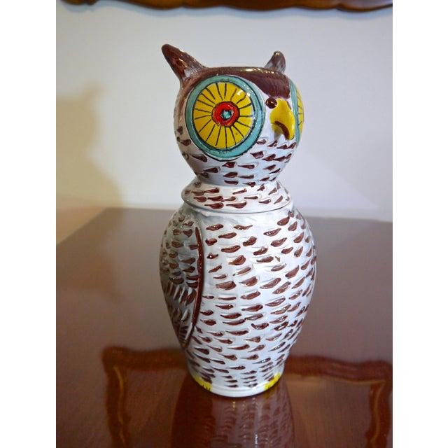 Mid-Century Modern Mid Century Italian Owl Cookie Jar For Sale - Image 3 of 7