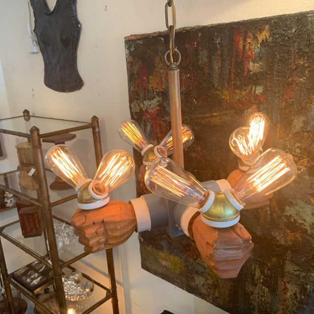 Metal Antique Wooden Hands Chandelier For Sale - Image 7 of 10