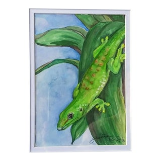 """""""Hawaii Gecko"""" Contemporary Watercolor Painting, Framed For Sale"""