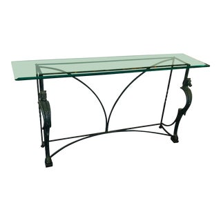 20th Century Hollywood Regency Cast Steel Horse Head Motif and Beveled Glass Console Table For Sale