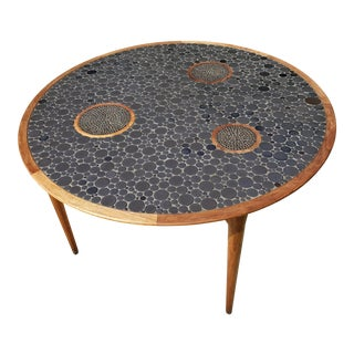 Danish Modern Jane & Gordon Martz for Marshall Studios Round Tile Top Table For Sale