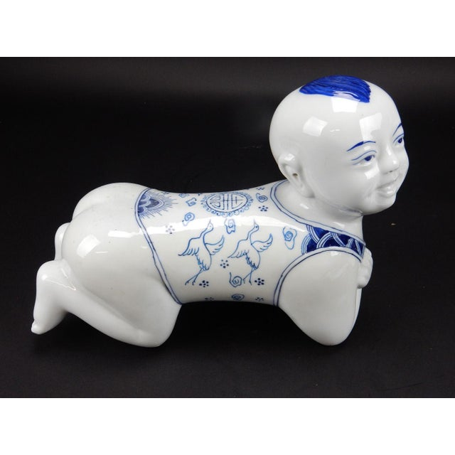 Asian Chinese Blue & White Porcelain Pillow Figurine For Sale - Image 3 of 11