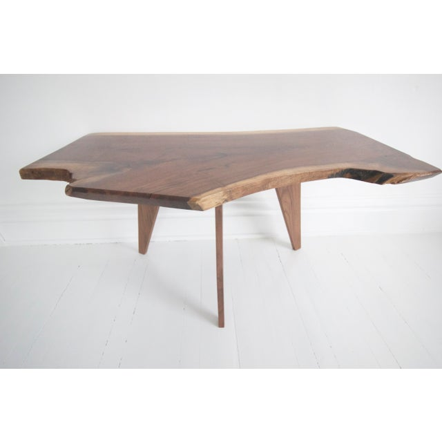 Boho Chic Solid Walnut Slab Coffee Table With Tapered Walnut Legs For Sale - Image 3 of 8