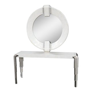 Tavola by Oggetti Art Deco Style Tessellated Console and Mirror For Sale