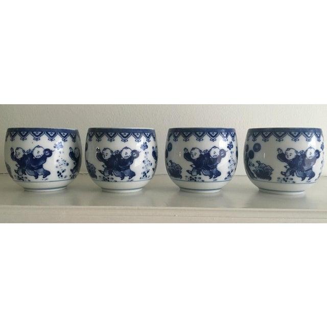 Blue & White Porcelain Tea Cups - Set of 4 - Image 2 of 8