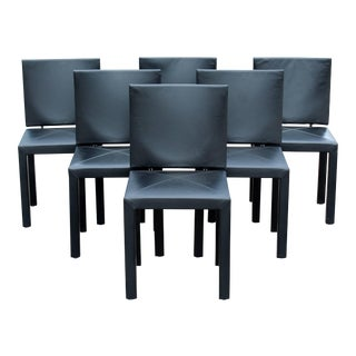 Mid-Century Modern Paolo Piva Black Leather Dining Chairs - Set of 6