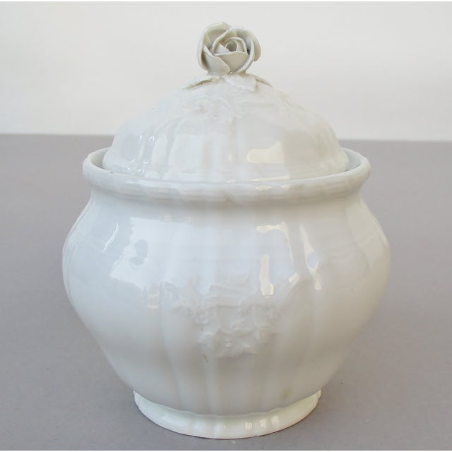 Vintage Bavarian white porcelain small boudoir jar decorated with a rose-handled lid. Produced by KPM (Königliche...