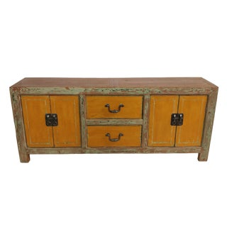 Distressed Orange Reclaimed Wood Sideboard For Sale