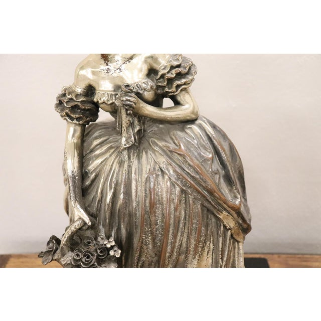 20th Century Italian Sculpture in Silvered Clay Figure of a Lady by B Tornati For Sale - Image 4 of 12