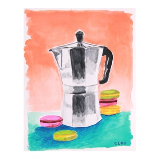 Italian Espresso Coffee Pot With Macaroons For Sale