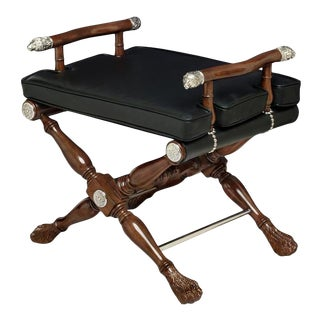 Scarborough House Black Leather Director's Stool For Sale