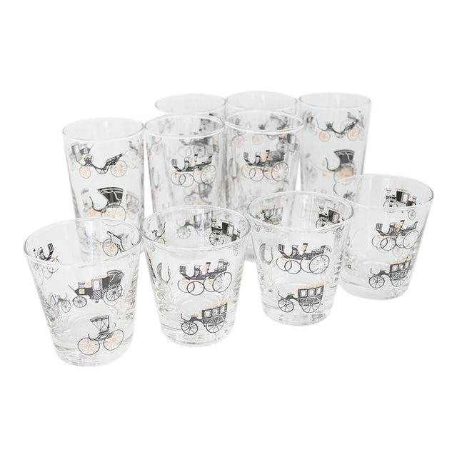 Libbey Curio/Carriage & Buggy Highball & Rocks Glasses - Set of 10 For Sale