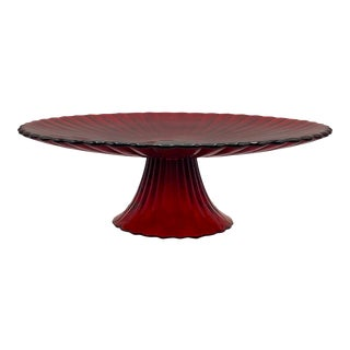 Yalos Casa Murano Mid Century Modern Art Glass Amberina Red Footed Desert Cake Display Stand For Sale