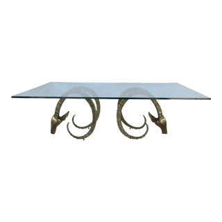 Vintage Brass Rams Heads Rectangular Glass Coffee Table For Sale