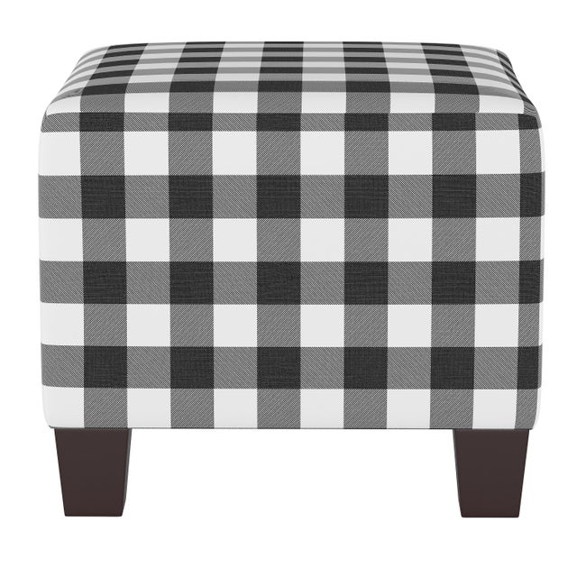 Not Yet Made - Made To Order Square Ottoman in Classic Black Gingham For Sale - Image 5 of 5